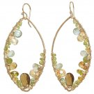 "Gemstone Earrings Hammered 14K Gold Filled Marquis Shape 2-1/4"" Handmade USA"