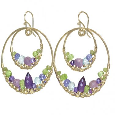 """Gemstone Earrings Hammered 14K Gold Filled Circles 2-1/2"""" Long Handcrafted USA"""