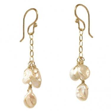 """Handmade Gemstone Earrings Keishi Pearls 14K Gold Filled Chain 1-1/4"""" USA"""