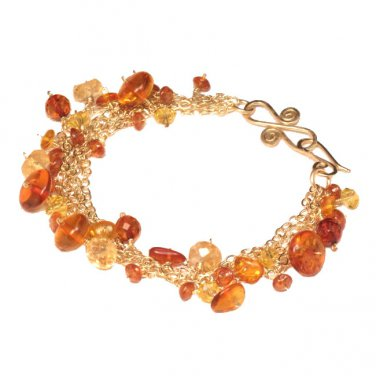 """Gemstone Bracelet Citrine Amber Mandarin Garnet 14K Gold Filled  7-1/2"""""""