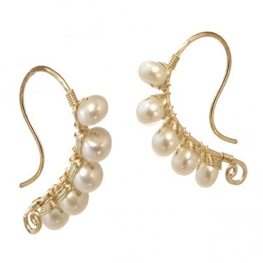 Artisan Earrings Hammered 14K Gold Filled with Pearls Made USA
