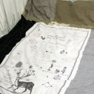 145 x 80 cm Illustrated Natural Cotton Fabric