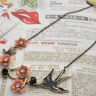 Swallow and Blossoming Flower Necklace