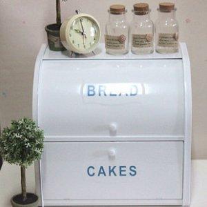 White Tin Bread and Cakes Double Storage
