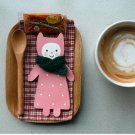 Pink Cute Doll Wears Green Shawl Message Card