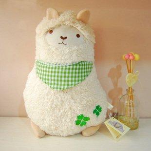White Alpaca Wears White and Green