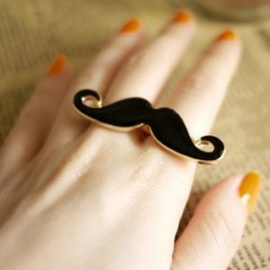 Gentleman Mustache Double Ring - Black, White