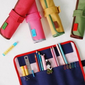 Roll Pencil / Make Up Brush Case - Red, Pink, Green, Yellow, Blue