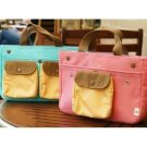 Travel Mini Pocket Bag in Bag - Sky Blue, Peach Pink
