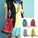 Hippies Indian Summer Canvas Satchel in Red, Yellow, Green, Blue