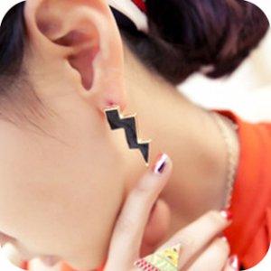Oversize Black Lightning Earrings