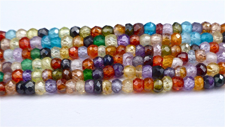 Multi-color Natural Zircon Micro Faceted Rondelle