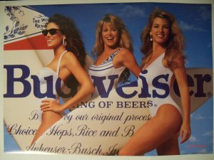 Budweiser Beach Girls W Surfboard Poster