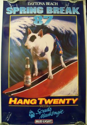 spuds mackenzie 1986 spring break bud light poster