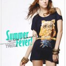 #1400353-Japanese Fashion Owl Patterned Off Shoulder Tops-3 Colors(Black)