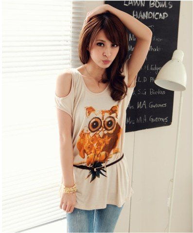 #1400353-Japanese Fashion Owl Patterned Off Shoulder Tops-3 Colors(Apricot)