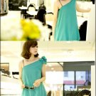 #1759265-Oblique Sling Chiffon Puff Dress-4 Colors(Blue)