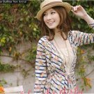 #1956828-Printed stripes crocheted cardigan Jacket-2 Colors(Blue)
