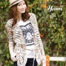 #1956828-Printed stripes crocheted cardigan Jacket-2 Colors(Gray)