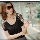 #154YY1284-Korean fashion hollow shoulder blouse-2 Colors(Black)