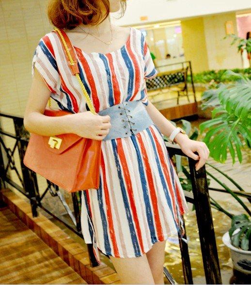 #168YY0546-Korean Fashion bat cuff stripes dress with belt