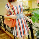#168YY0546-Korean Fashion bat cuff stripes dress with belt