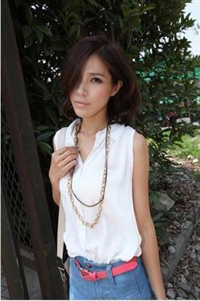 #1602020- small lapel button-fold cotton shirt-3 Colors(White)