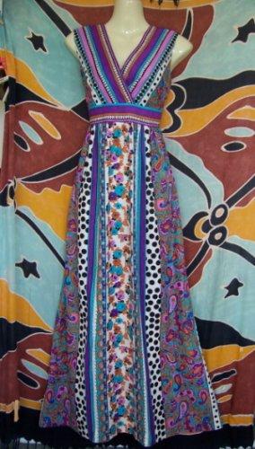 WILD VINTAGE POLKA DOT PAISLEY HANDMADE MAXI DRESS XS / S