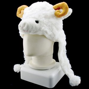 Sheep Animal Funny Mascot Plush Costume Mask Fur Hat Cap #11085