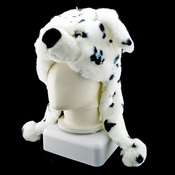 Dalmatians Dog Funny Mascot Plush Costume Mask Fur Hat Cap #11086