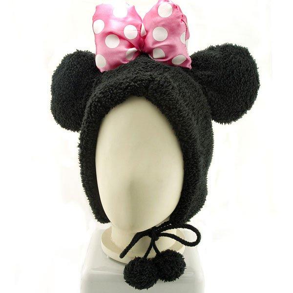 Black Mouse Bow Mascot Fancy Dress Costume Warmer Fur Hat #11445