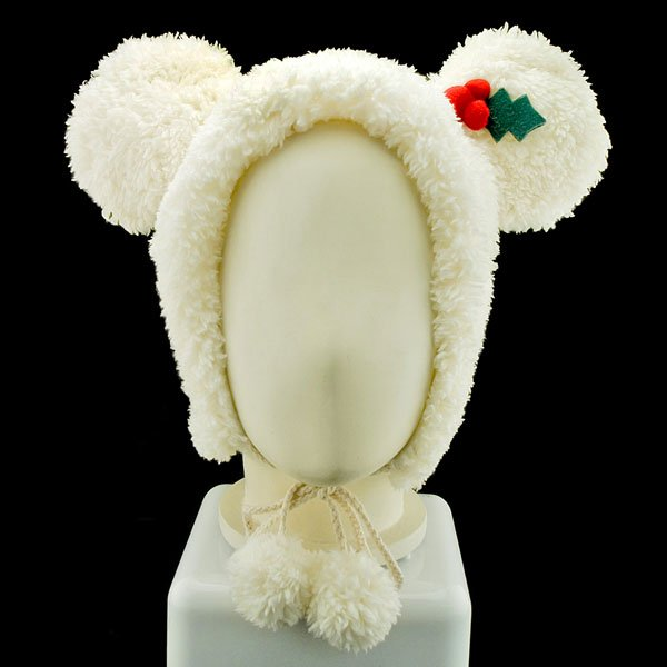 White Mouse Bow X'Mas Fancy Dress Costume Warmer Fur Hat #11446