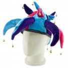 Blue Clown Jester Joint Fancy Dress Costume Fur Hat Cap #11471