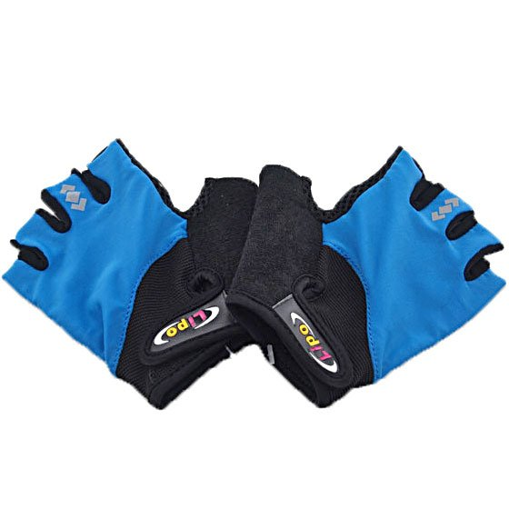 Gel Padded Palm Half Finger Cycling Bike Gloves BLUE #51388