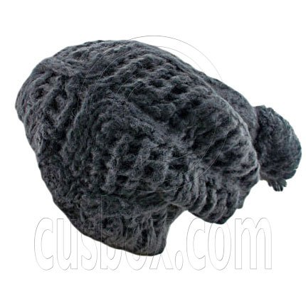 Plain Wool Beanie with Diamond Pattern Double Layer (GRAY BLACK) #51403