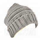 Plain Beanie with Mini Stripe Pattern Unisex Winter Hat LIGHT GRAY GREY #51414