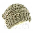 Plain Beanie with Mini Stripe Pattern Unisex Winter Hat LIGHT BROWN #51413