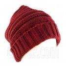 Plain Beanie with Mini Stripe Pattern Unisex Winter Hat RED #50936