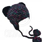 Colorful Beanie with Lovely Ears Shape & Earflaps Braids Poms (BLACK) #51417