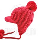 Plain Wooly Beanie with Earflaps Braids Poms (CHERRY RED / CERISE) #51428
