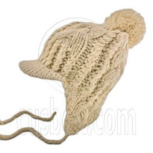 Plain Wooly Beanie with Earflaps Braids Poms (LIGHT BROWN) #51431