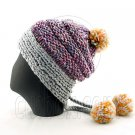 Colored Beanie w/ Back Braids Poms Winter Hat NEW NWT LIGHT GRAY #51347