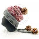 Colored Beanie w/ Back Braids Poms Winter Hat NEW NWT DARK GRAY #51432
