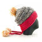 Colored Beanie w/ Back Braids Poms Winter Hat NEW NWT HOT PINK #51433