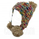 Color Wooly Pop Pom Beanie with Earflaps (BROWN BRAID POM) #51407
