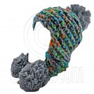 Color Wooly Pop Pom Beanie with Earflaps (GRAY BRAID POM) #51410