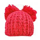 Warm Plain Wooly Beanie w/ Two Top Lovely Poms (CHERRY RED / CERISE) #51437