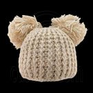 Warm Plain Wooly Beanie w/ Two Top Lovely Poms (BROWN) #51440