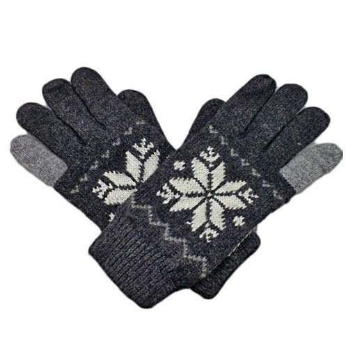 Men's Full Finger Wooly Cuff Gloves w/ Fluffy Lining (BLACK SNOWFLAKE) #51444