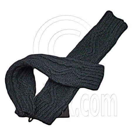 Fingerless Wooly Gloves with Wave Zig-Zag Pattern (GRAY BLACK) #51454
